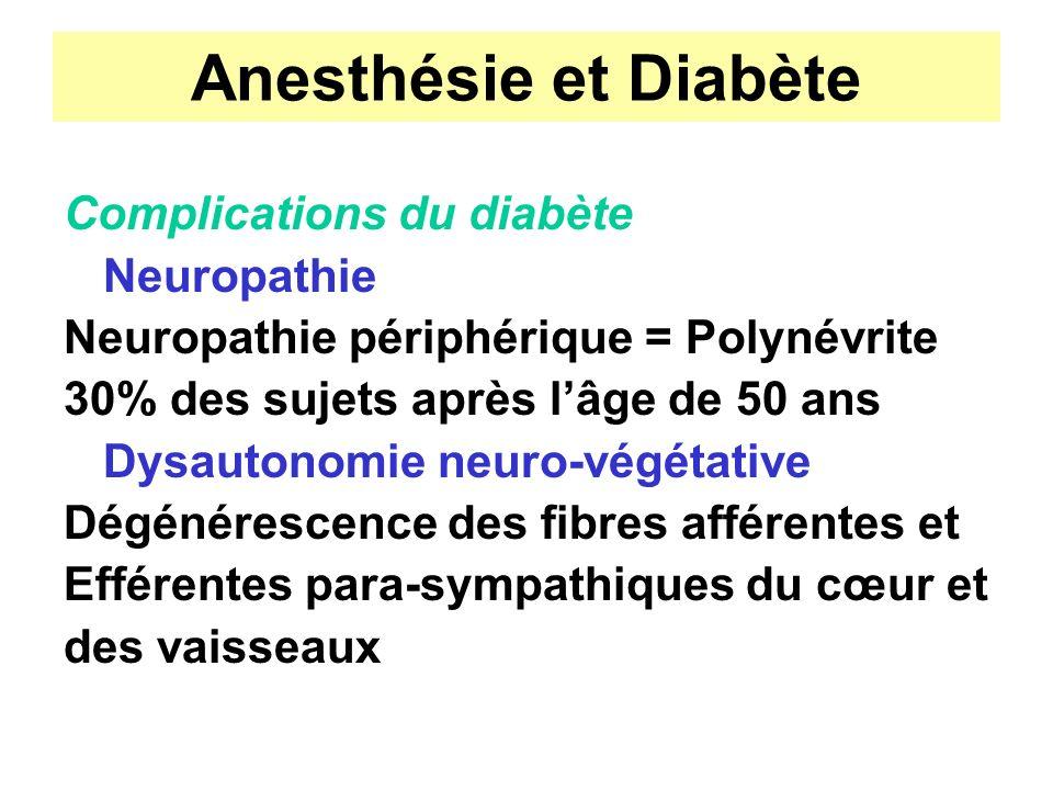 Anesthésie et Diabète Complications du diabète Neuropathie