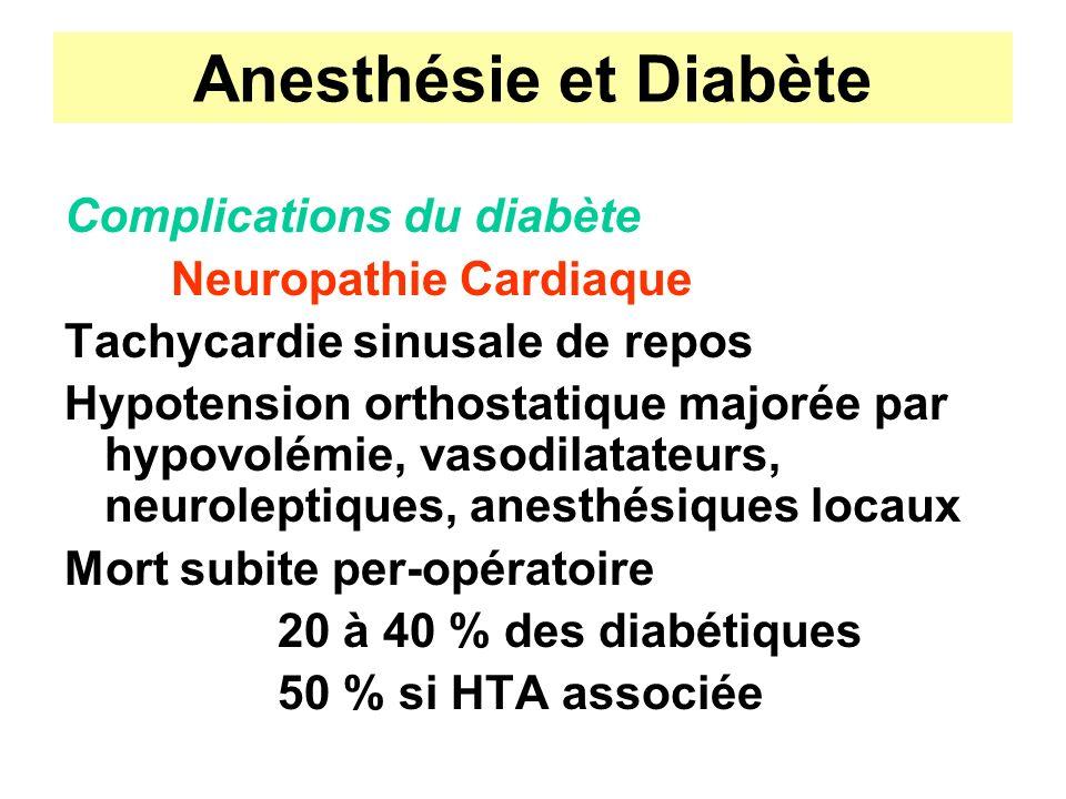 Anesthésie et Diabète Complications du diabète Neuropathie Cardiaque