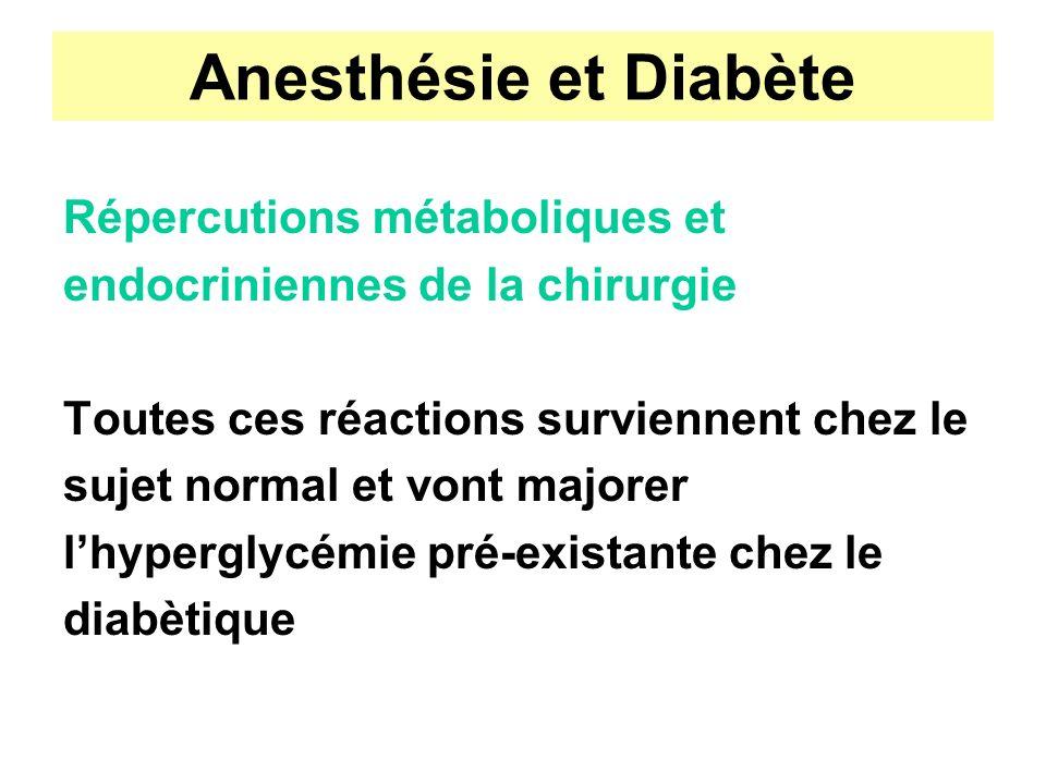 Anesthésie et Diabète Répercutions métaboliques et