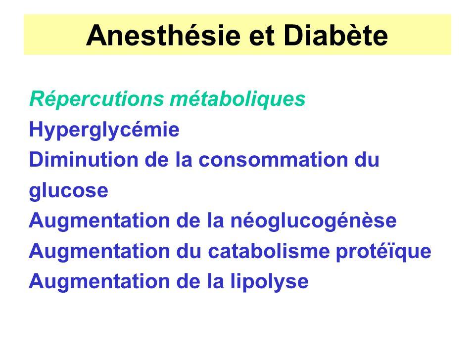 Anesthésie et Diabète Répercutions métaboliques Hyperglycémie