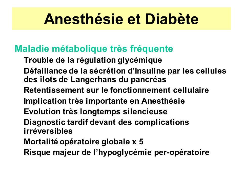 Anesthésie et Diabète Maladie métabolique très fréquente