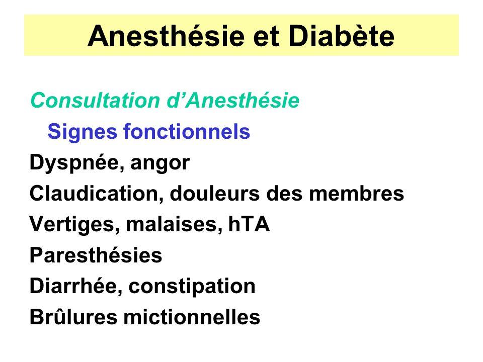 Anesthésie et Diabète Consultation d'Anesthésie Signes fonctionnels