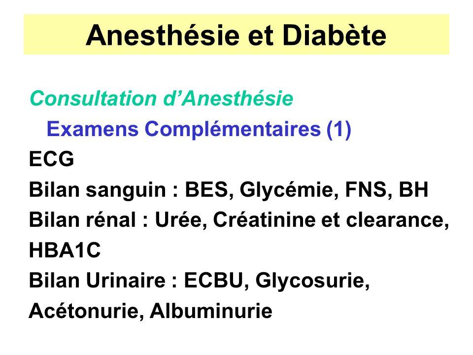 Anesthésie et Diabète Consultation d'Anesthésie