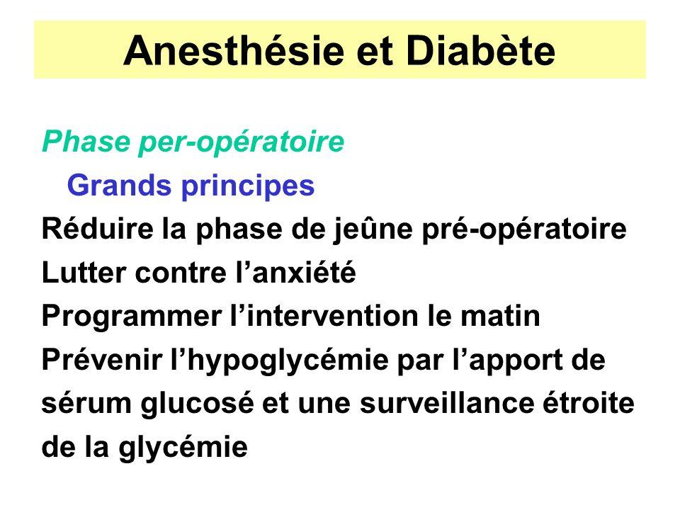 Anesthésie et Diabète Phase per-opératoire Grands principes