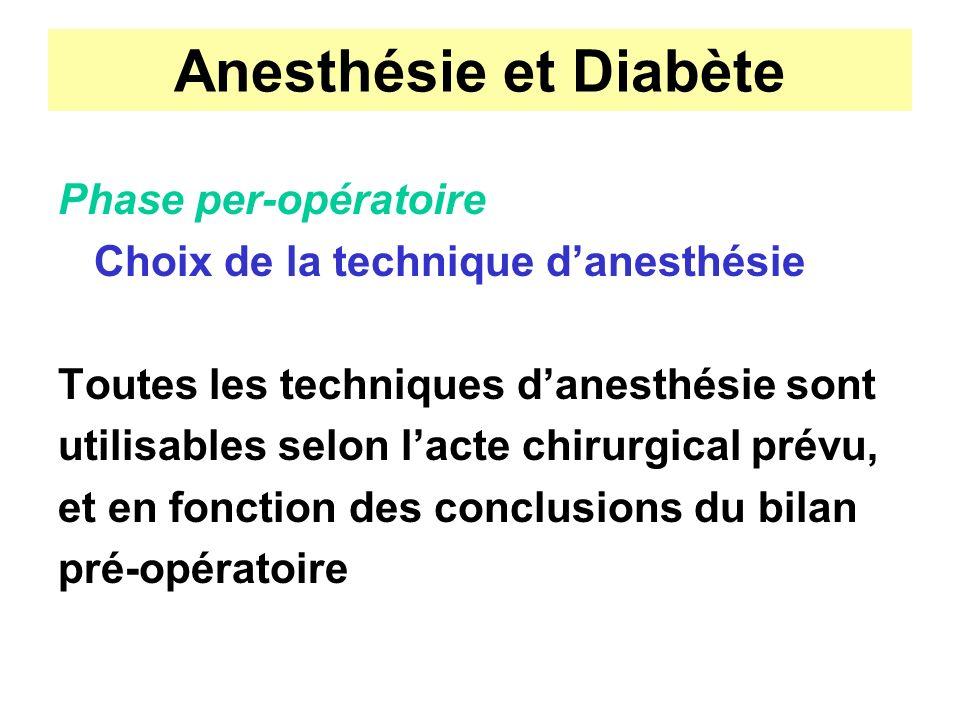 Anesthésie et Diabète Phase per-opératoire