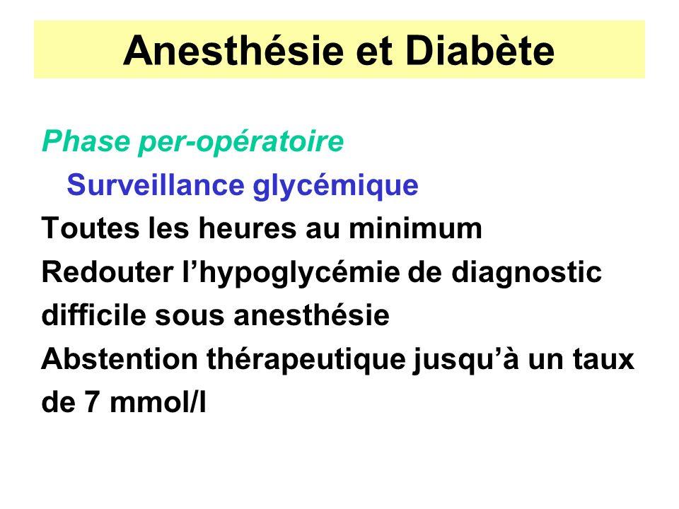Anesthésie et Diabète Phase per-opératoire Surveillance glycémique