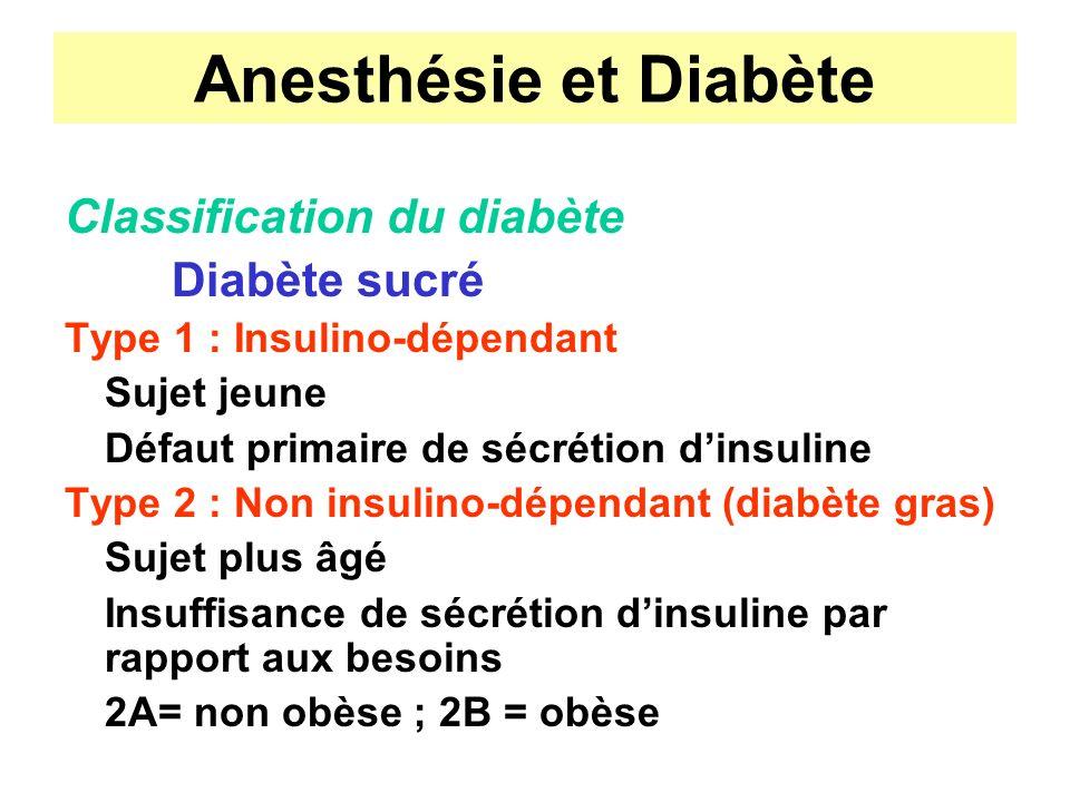 Anesthésie et Diabète Classification du diabète Diabète sucré