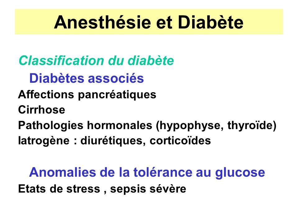Anesthésie et Diabète Classification du diabète Diabètes associés