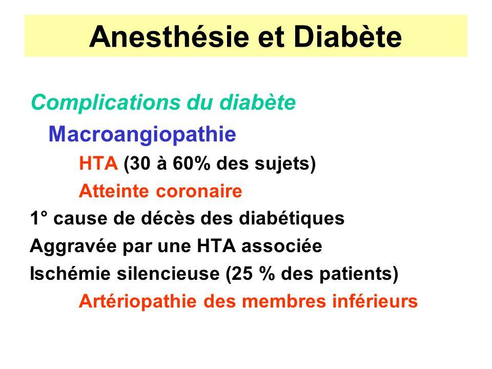Anesthésie et Diabète Complications du diabète Macroangiopathie