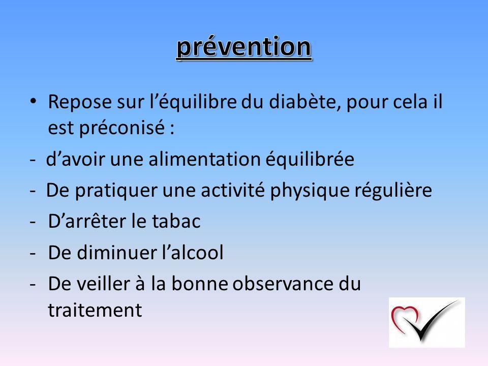 prévention Repose sur l'équilibre du diabète, pour cela il est préconisé : - d'avoir une alimentation équilibrée.