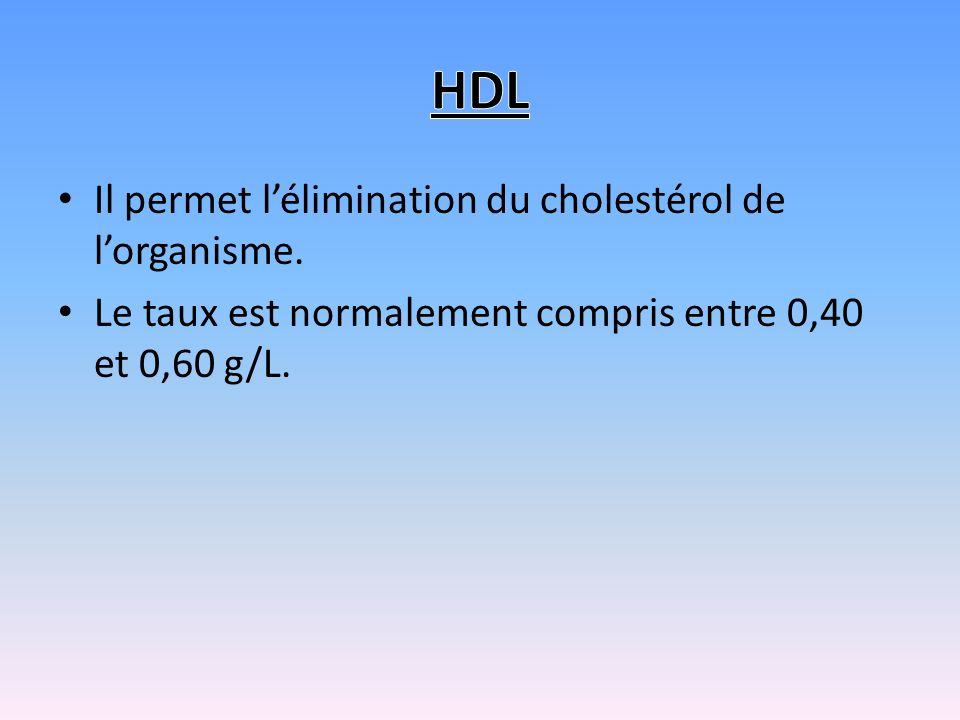 HDL Il permet l'élimination du cholestérol de l'organisme.
