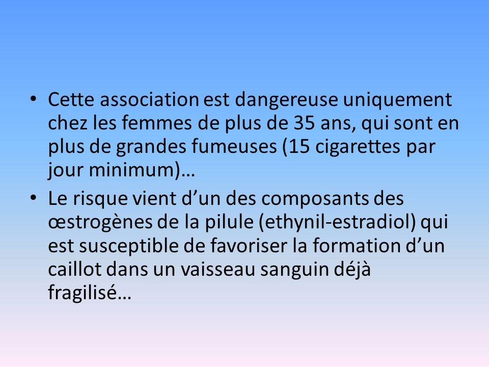 Cette association est dangereuse uniquement chez les femmes de plus de 35 ans, qui sont en plus de grandes fumeuses (15 cigarettes par jour minimum)…