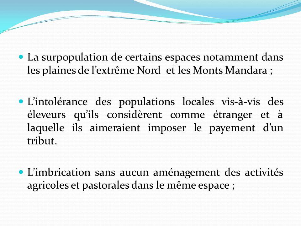La surpopulation de certains espaces notamment dans les plaines de l'extrême Nord et les Monts Mandara ;