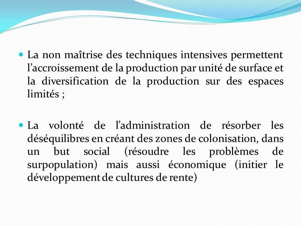 La non maîtrise des techniques intensives permettent l'accroissement de la production par unité de surface et la diversification de la production sur des espaces limités ;
