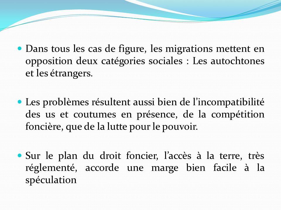 Dans tous les cas de figure, les migrations mettent en opposition deux catégories sociales : Les autochtones et les étrangers.