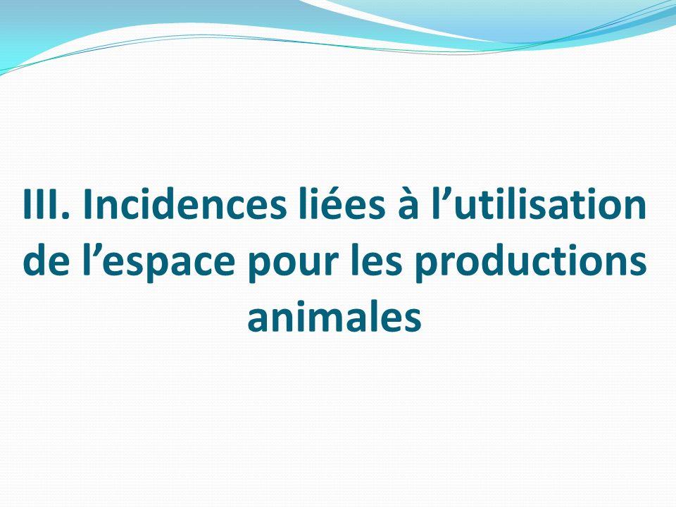 III. Incidences liées à l'utilisation de l'espace pour les productions animales