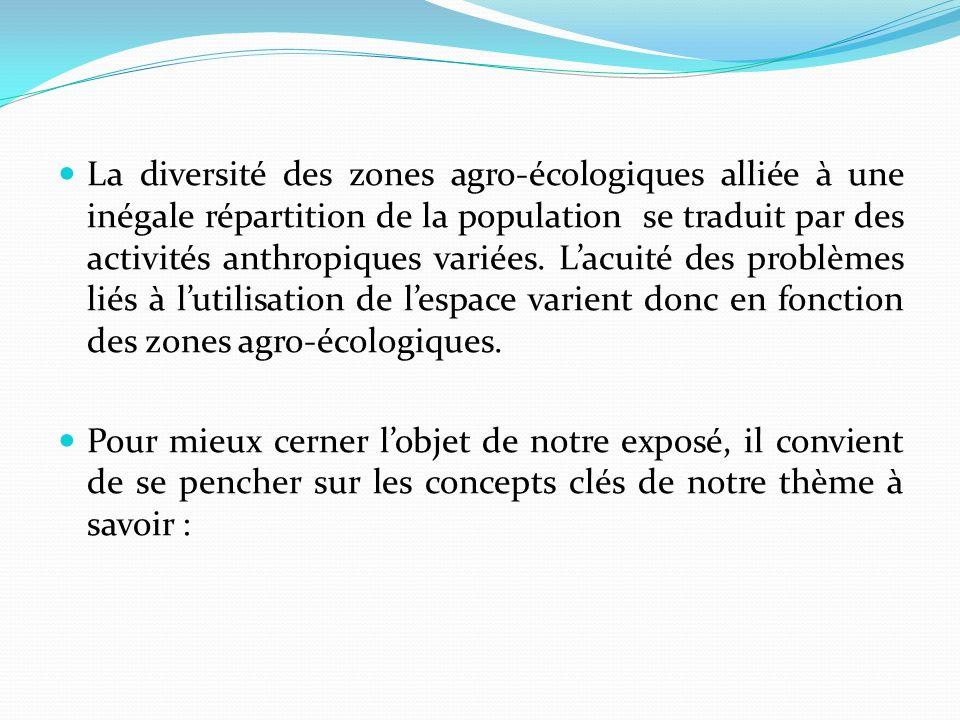 La diversité des zones agro-écologiques alliée à une inégale répartition de la population se traduit par des activités anthropiques variées. L'acuité des problèmes liés à l'utilisation de l'espace varient donc en fonction des zones agro-écologiques.
