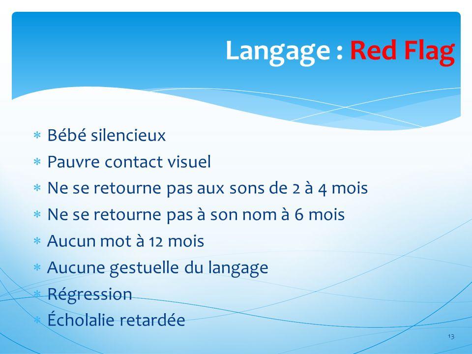 Langage : Red Flag Bébé silencieux Pauvre contact visuel