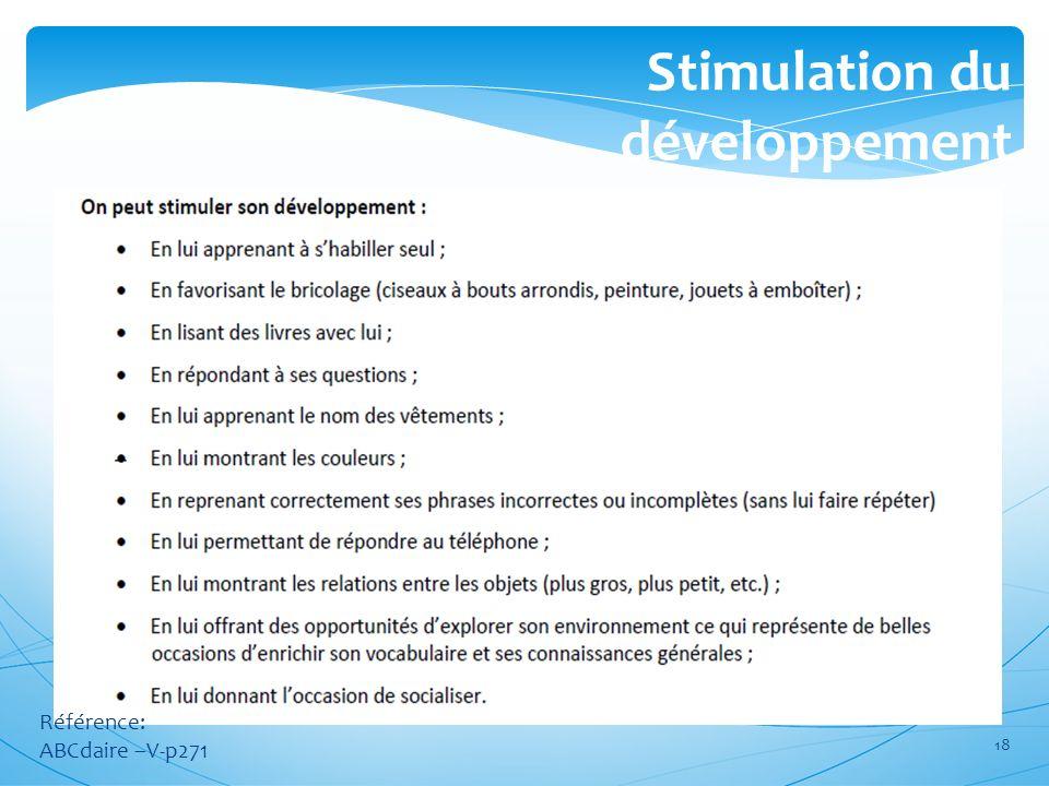 Stimulation du développement Référence: ABCdaire –V-p271