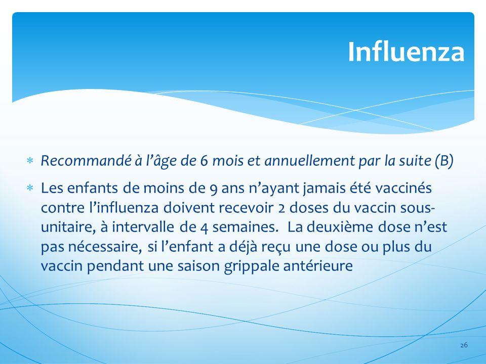 Influenza Recommandé à l'âge de 6 mois et annuellement par la suite (B)