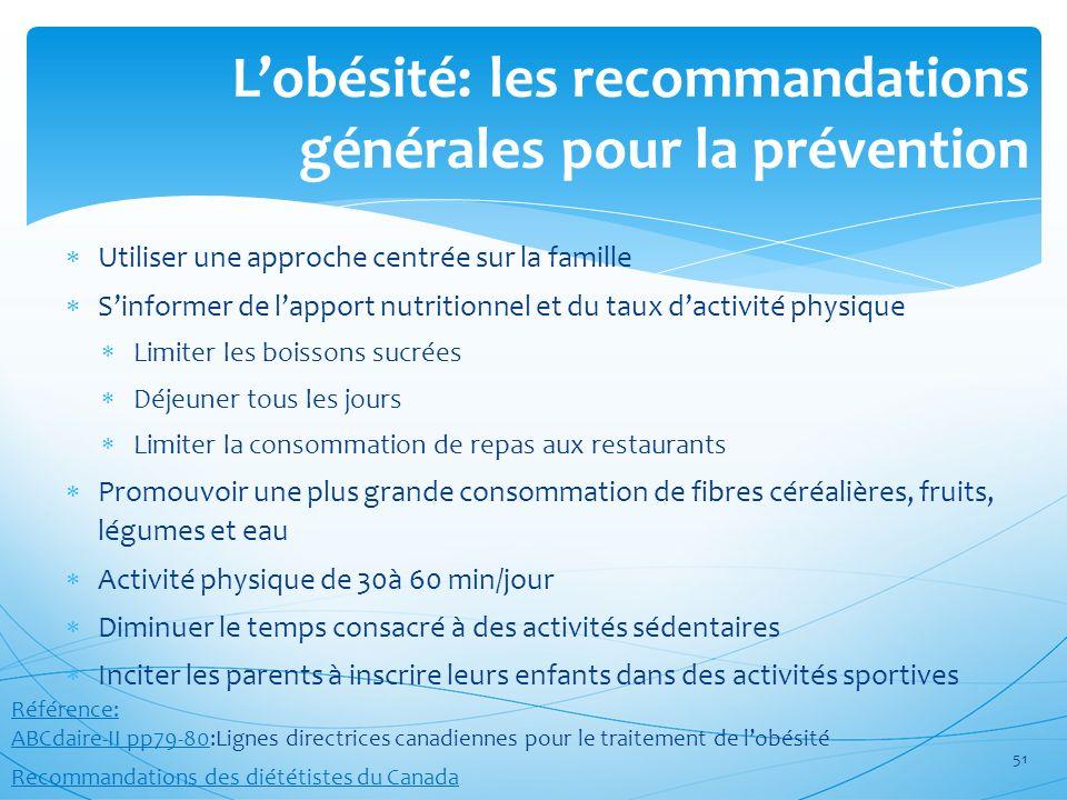L'obésité: les recommandations générales pour la prévention