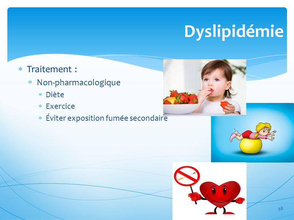 Dyslipidémie Traitement : Non-pharmacologique Diète Exercice