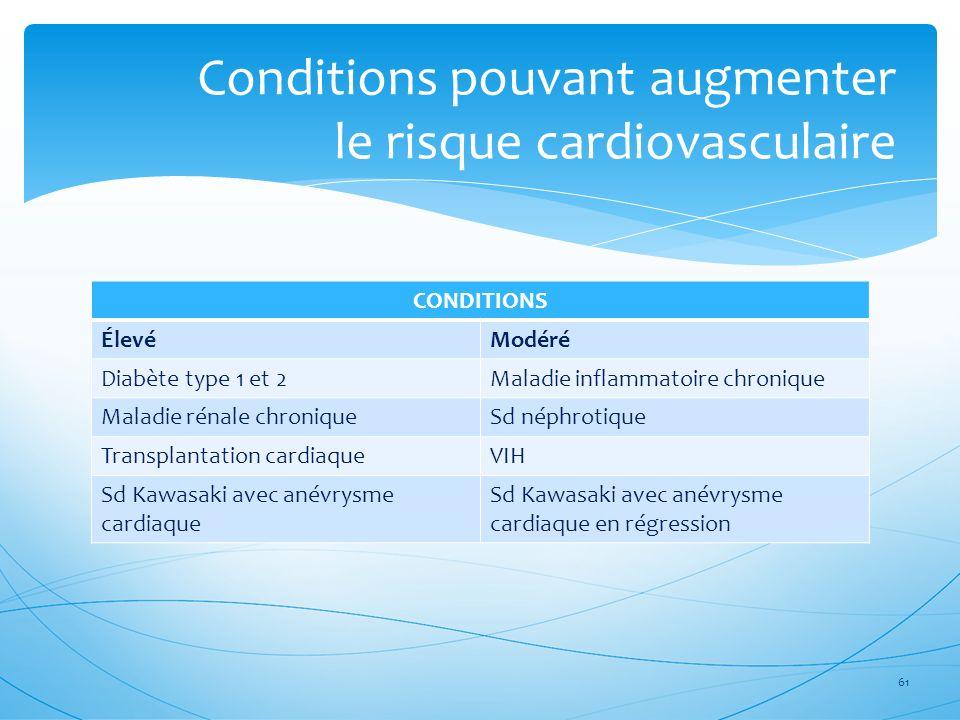 Conditions pouvant augmenter le risque cardiovasculaire