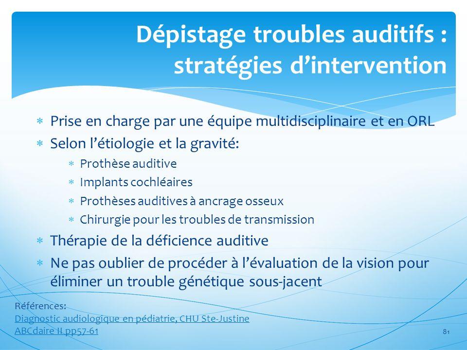 Dépistage troubles auditifs : stratégies d'intervention