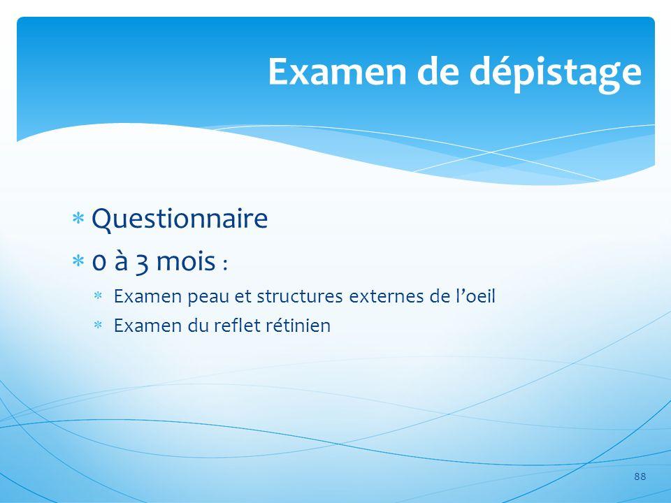 Examen de dépistage Questionnaire 0 à 3 mois :