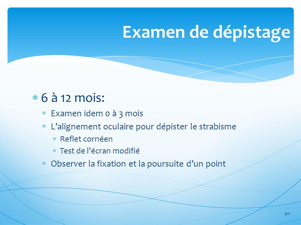 Examen de dépistage 6 à 12 mois: Examen idem 0 à 3 mois