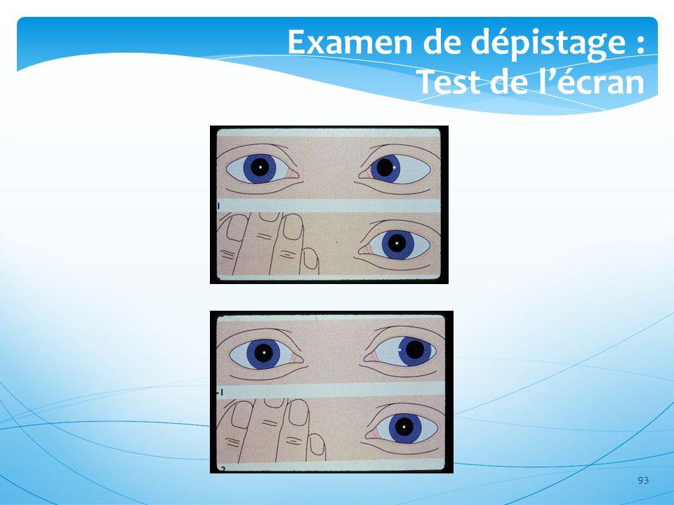 Examen de dépistage : Test de l'écran