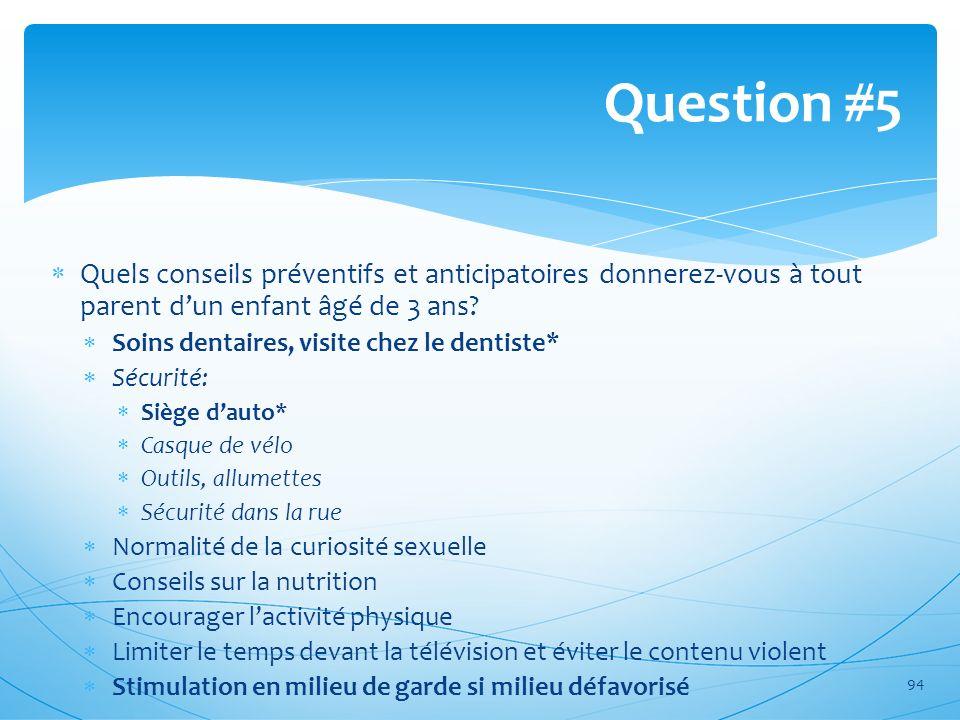 Question #5 Quels conseils préventifs et anticipatoires donnerez-vous à tout parent d'un enfant âgé de 3 ans