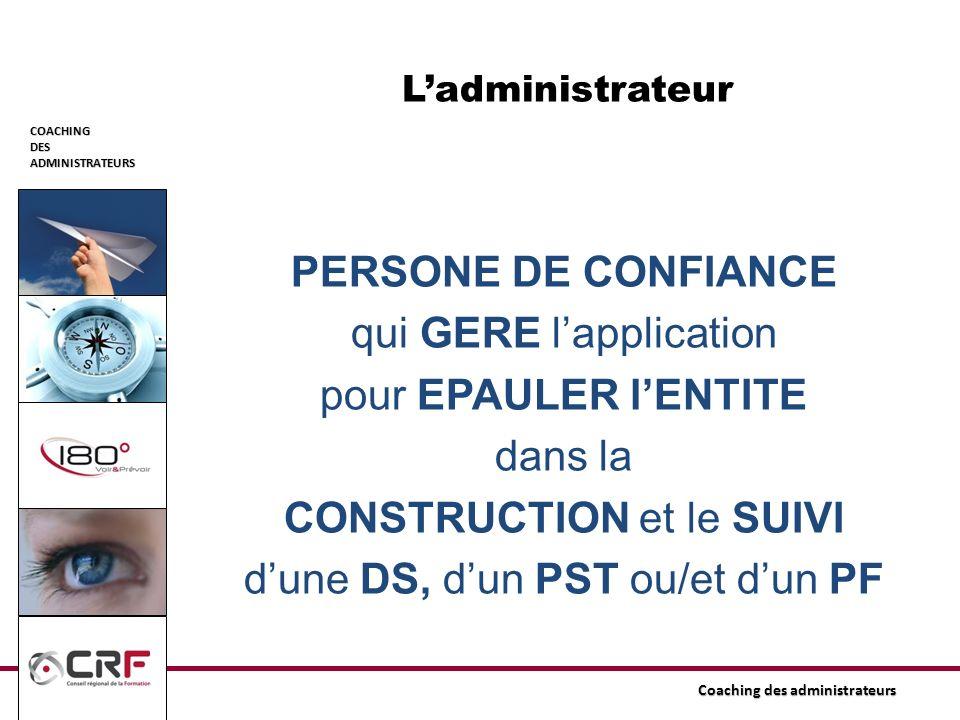 L'administrateur PERSONE DE CONFIANCE qui GERE l'application pour EPAULER l'ENTITE dans la CONSTRUCTION et le SUIVI d'une DS, d'un PST ou/et d'un PF