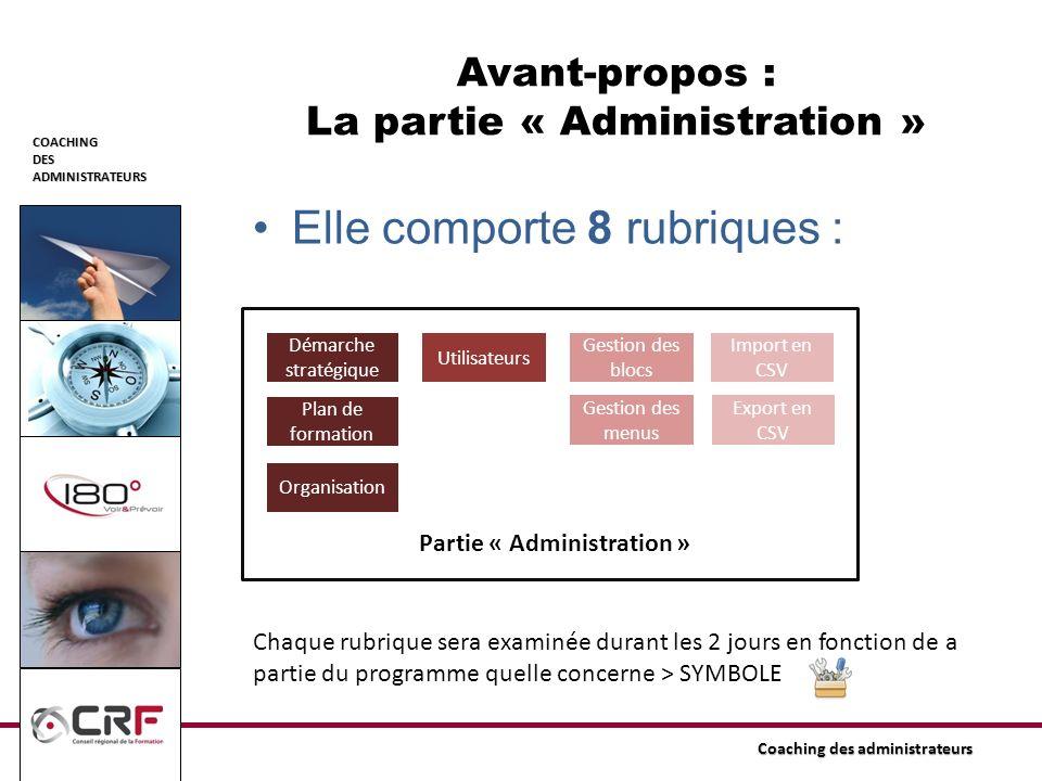 Avant-propos : La partie « Administration »