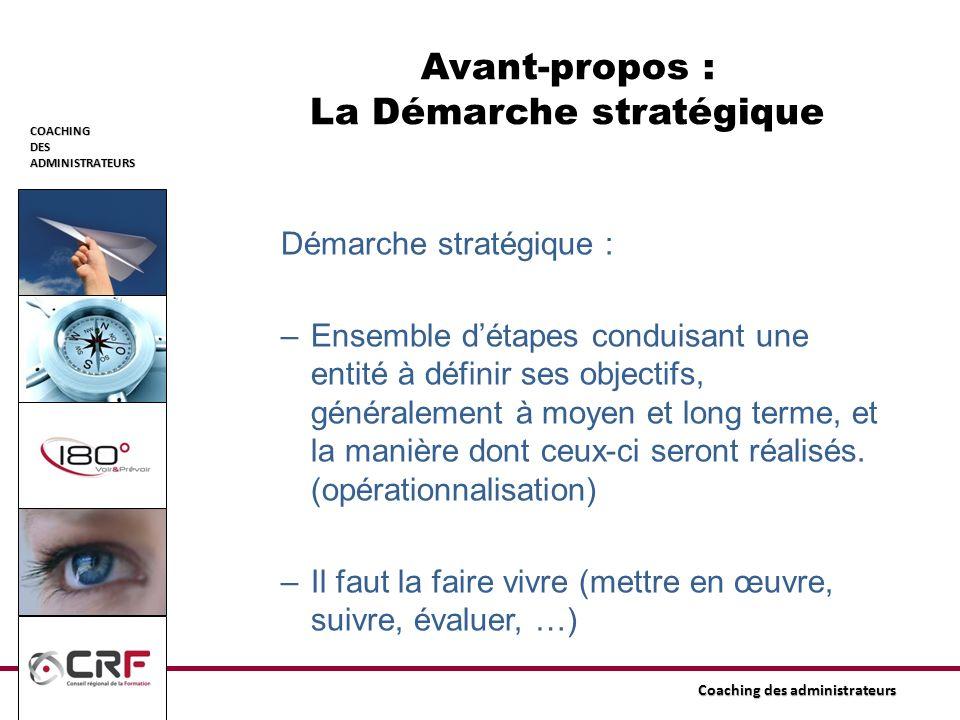 Avant-propos : La Démarche stratégique