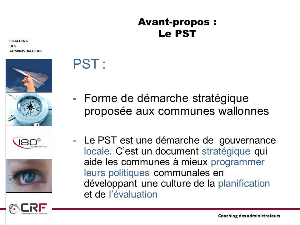 PST : Forme de démarche stratégique proposée aux communes wallonnes
