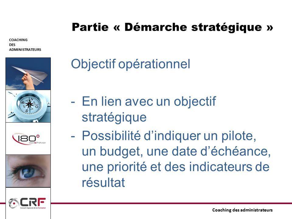 Partie « Démarche stratégique »