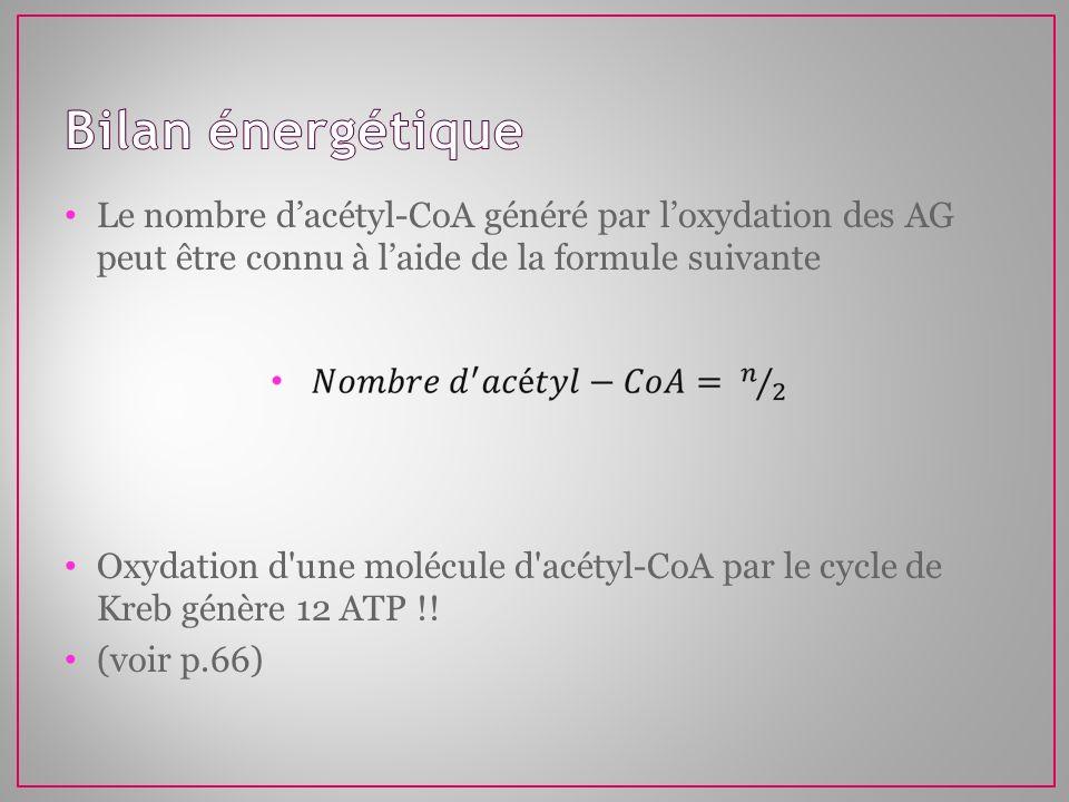 Bilan énergétique Le nombre d'acétyl-CoA généré par l'oxydation des AG peut être connu à l'aide de la formule suivante.