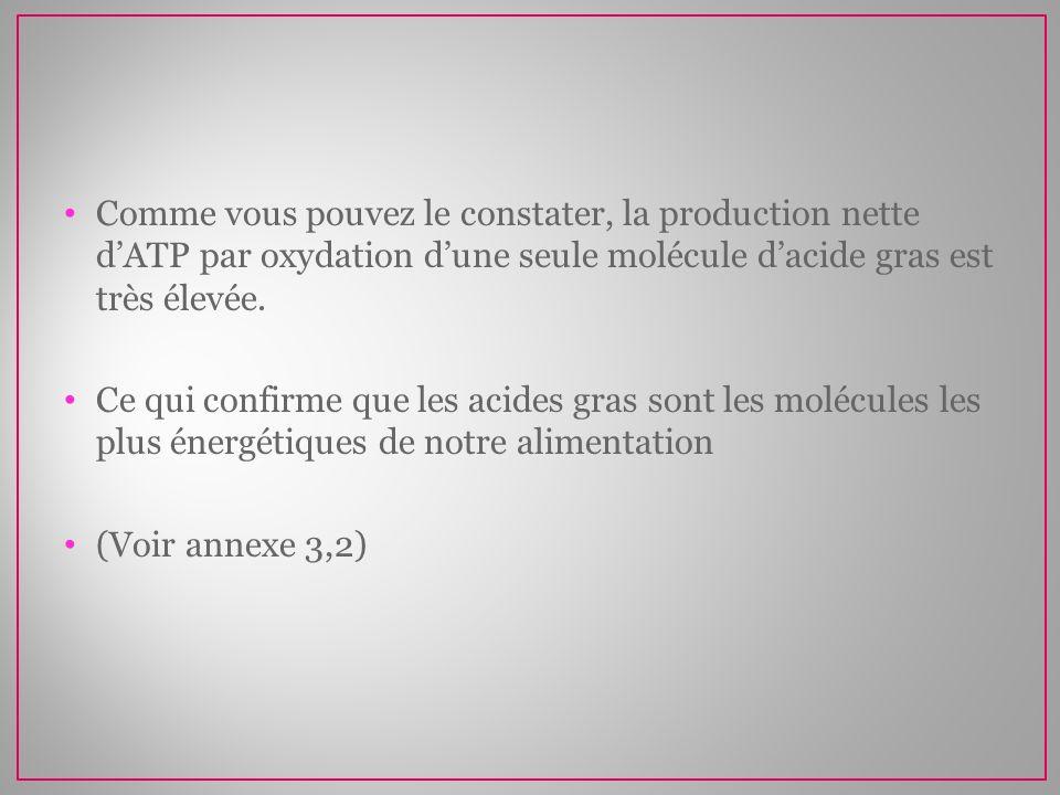 Comme vous pouvez le constater, la production nette d'ATP par oxydation d'une seule molécule d'acide gras est très élevée.