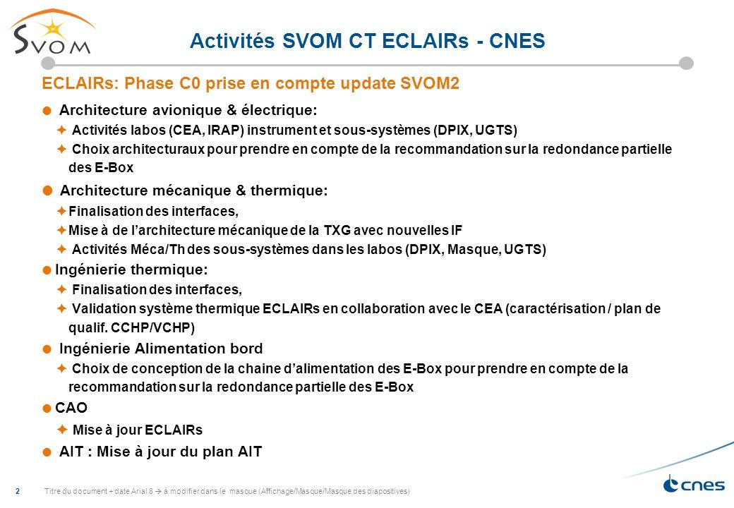 Activités SVOM CT ECLAIRs - CNES