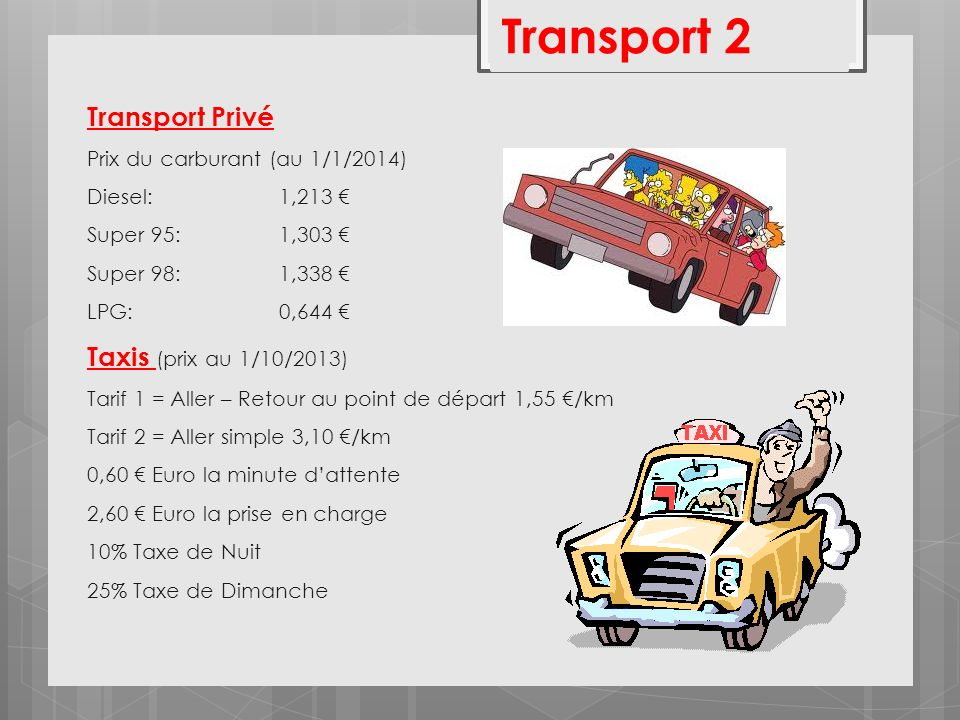 Transport 2 Transport Privé Taxis (prix au 1/10/2013)