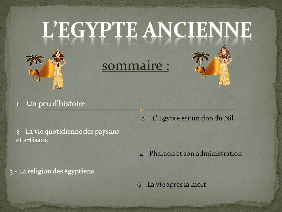 L'egypte ancienne sommaire : 1 – Un peu d'histoire