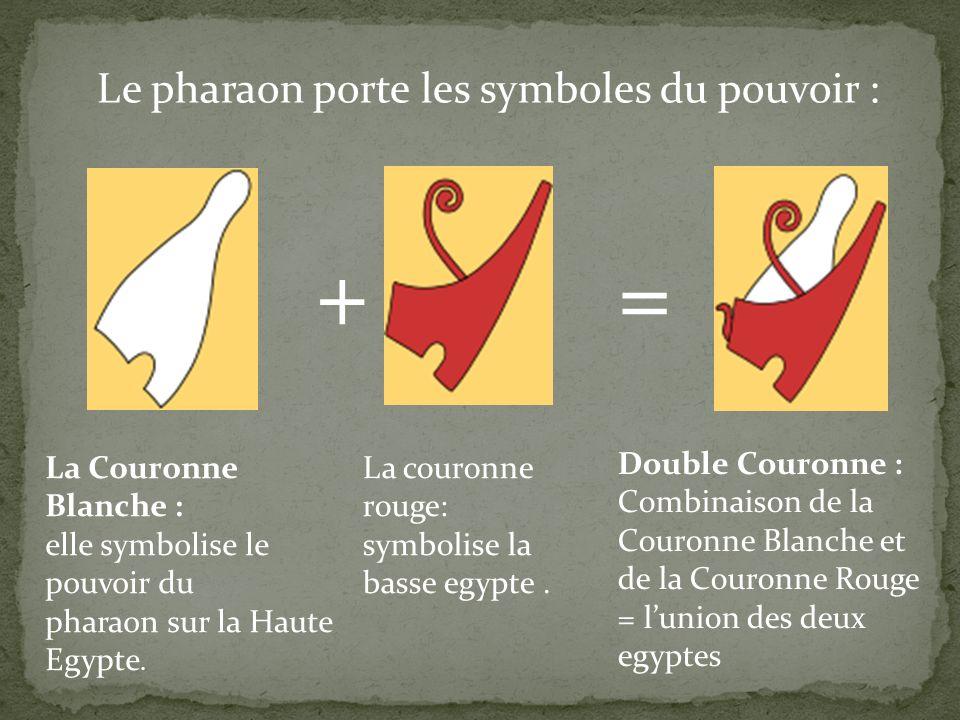+ = Le pharaon porte les symboles du pouvoir :