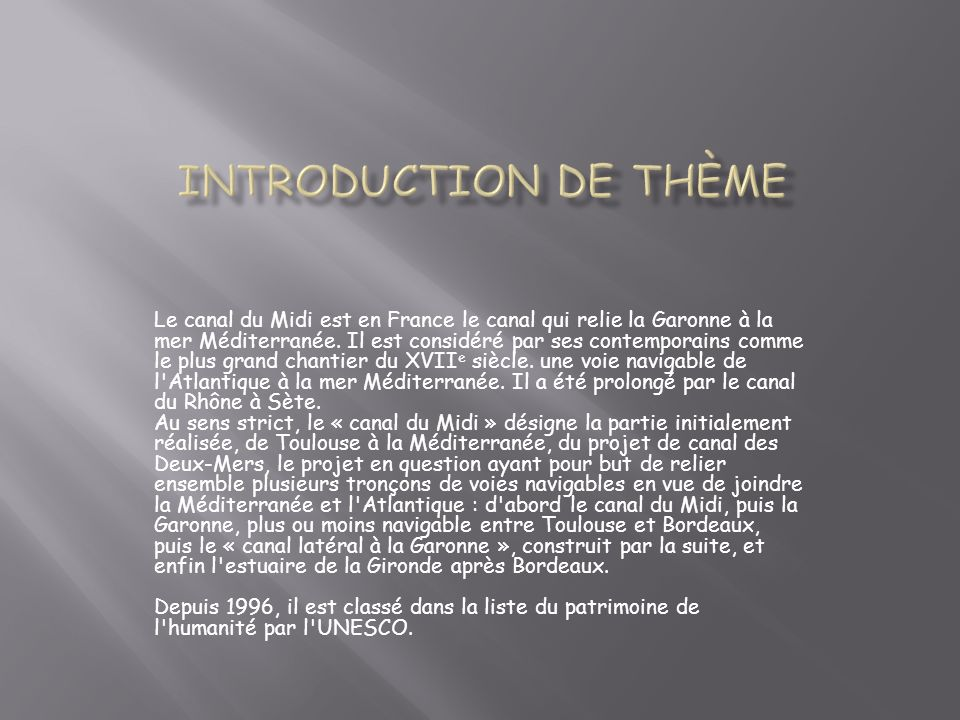 Introduction de thème
