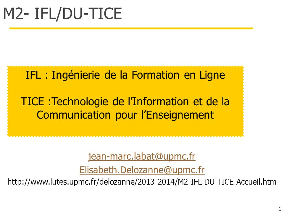 IFL : Ingénierie de la Formation en Ligne