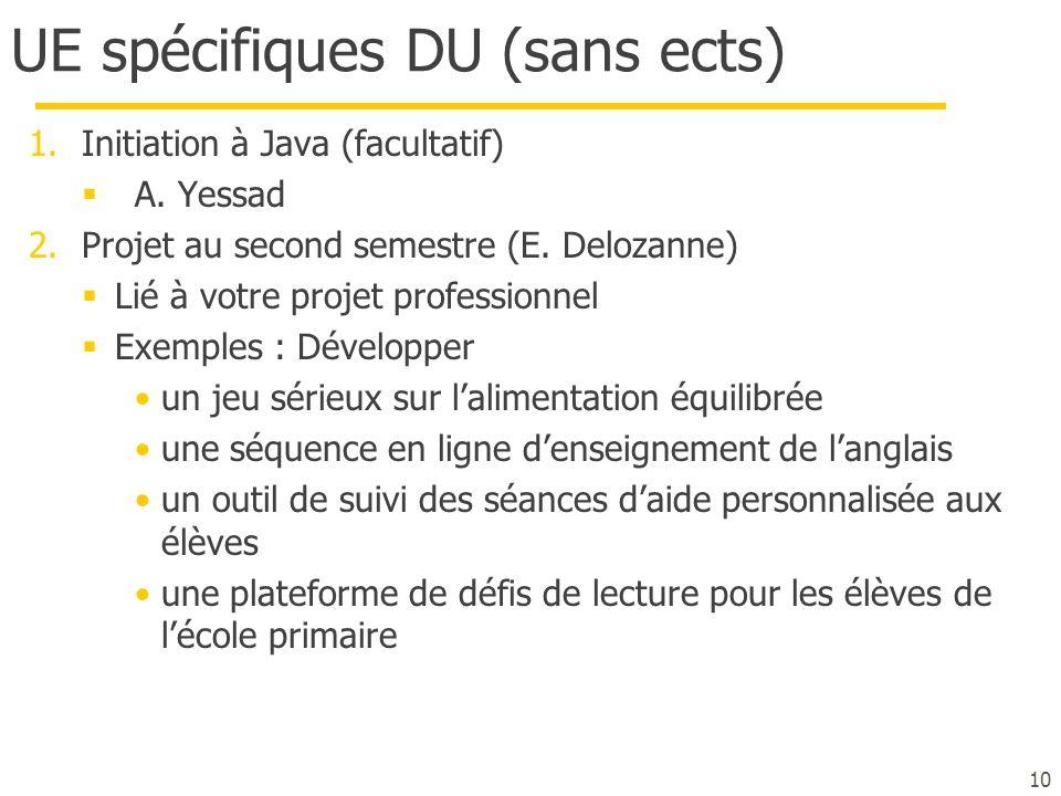 UE spécifiques DU (sans ects)
