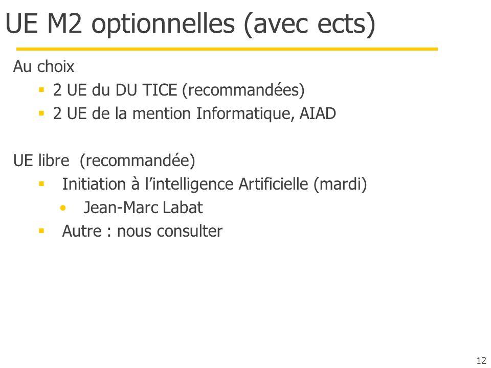 UE M2 optionnelles (avec ects)