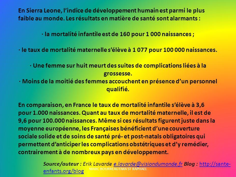 · la mortalité infantile est de 160 pour 1 000 naissances ;