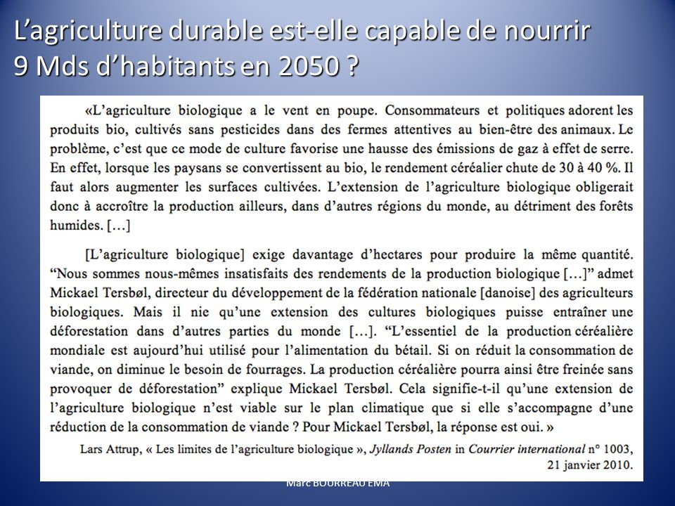 L'agriculture durable est-elle capable de nourrir