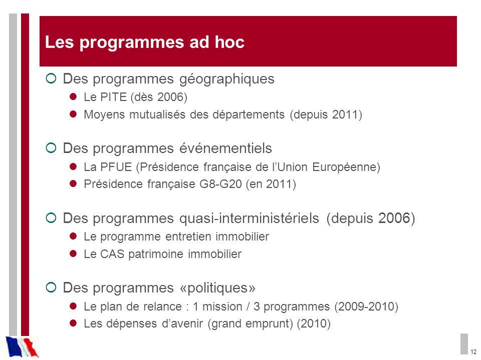 Les programmes ad hoc Des programmes géographiques